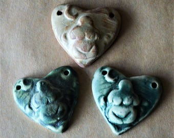 3 Sweet Ceramic Earth Mother Heart Pendant Beads - Valentine's Day Gift - Rustic Goddesses - Blessingway Beads