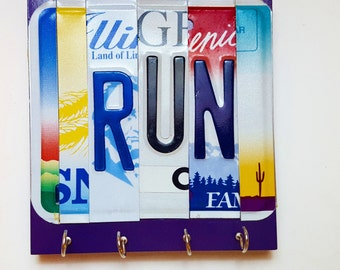iRUN race medal display, license plate letters, marathon medal holder,race medal holder, finishers medal display, race medal hanger
