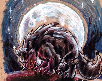 Wolf Moon - Original werewolf full moon mixed media painting / drawing