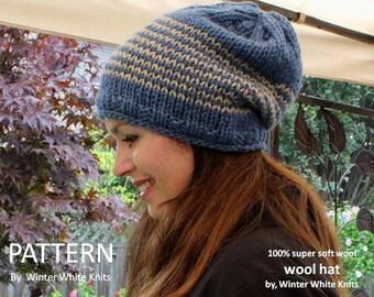 Knit hat pattern, PDF Instant Download Knitting Pattern, knit winter hat pattern, knit in many colors, easy to follow pattern, pattern 0048