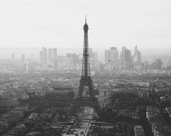 Eiffel Tower in Paris, black and white, office decor,