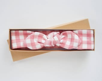 Pink and White Baby Knot Headband - Baby Girl Headwrap - Toddler Turban - Adult Jersey Headband - Infant Bow - Gingham Baby Girl Headband