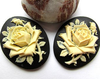 Rose Cameo Black Ivory Acrylic Cameo 40 x 30 mm Flower Cameo 3D Cameo Resin Rose Cameo Flat back Jewelry making Craft Supplies