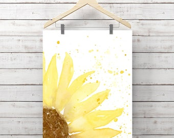 Sunflower Watercolor Print - Yellow Flower - Giclee Print - Original Painting by Angela Weber