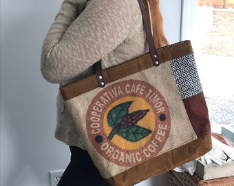 Waxed canvas tote bag\\burlap tote bag\\coffee bag tote bag\\ burlap coffee bag