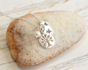 Sterling Silver Family Tree Initial Necklace -- Mother of Two