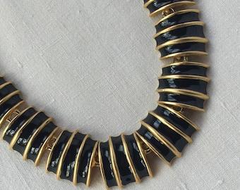 1980s Black Enameled Necklace