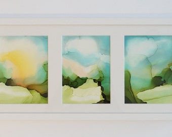 """FRAMED Abstract Landscape Triptych: 3 - 7""""x5"""" - ink watercolor. Original one-of-a-kind artwork."""