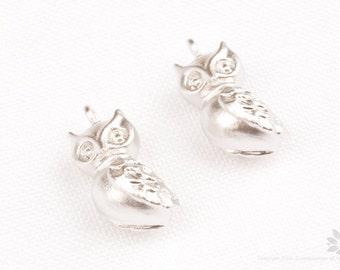 P790-MR// Matt Original Rhodium Plated Owl Charm Pendant, 2pcs