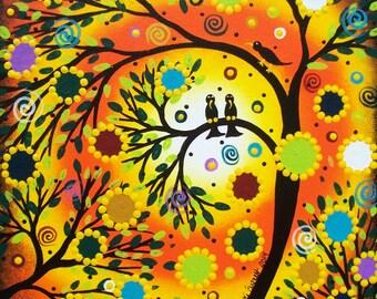 Needlepoint Canvas 14 or 18 count, By Lori Everett, Tree Art, Country Needlepoint, Folk Art Needlepoint, Whimsical Art, Primitive Art