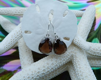 Stunning Smoky Quartz / Brown  Faceted Tear Drop Glass Silver Earrings