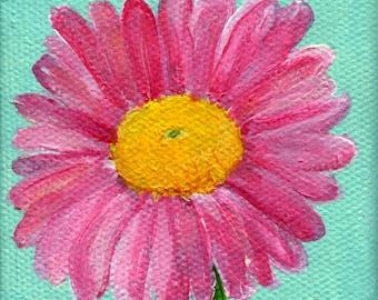 Daisy acrylic painting canvas art, mini painting, mini art, mini easel, pink daisy painting on aqua canvas, pink flower daisy decor