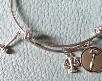 Laywer, Judge, Attorney Silver Bracelet Inspired,  Law School Graduation, New Law Student, Scales of Justice, legal, Law Graduate,    3