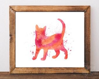Cat print, watercolor cat, cat wall art, cat nursery art, cat wall decor, cat painting, cat printable, kitten print, poster instant download