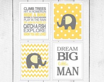 Elephant  Nursery Prints - 4 Print Set -  Nursery Decor -  Custom Colors -  Gray Yellow Nursery Decor