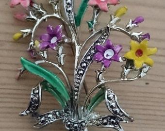 Vintage exquisite marked marcasite flower brooch