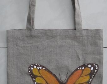Linen Bag,Handmade Linen Bag,shopping bag,tote bag,hahd painted