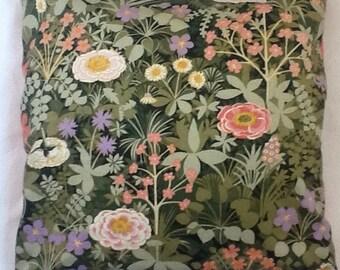 Vintage 1973 Italian Garden fabric cushion cover 45x45cm
