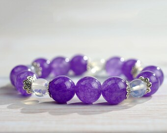 Color Of The Year Ultraviolet bracelet FEBRUARY BIRTHSTONE Ultra Violet bangle Purple jewelry Seventh Chakra Violet bracelet Lavender bangle