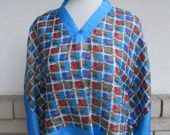 Vintage Cropped Kimono Top Asian Top Cropped Silk Blouse w/Elephant Print