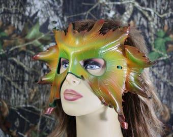 leather autumn leaf mask
