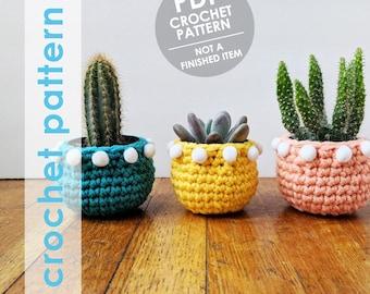 pom pom planter crochet pattern crochet mini planter succulent planter cactus plant pot cover crochet planter crochet home decor gift
