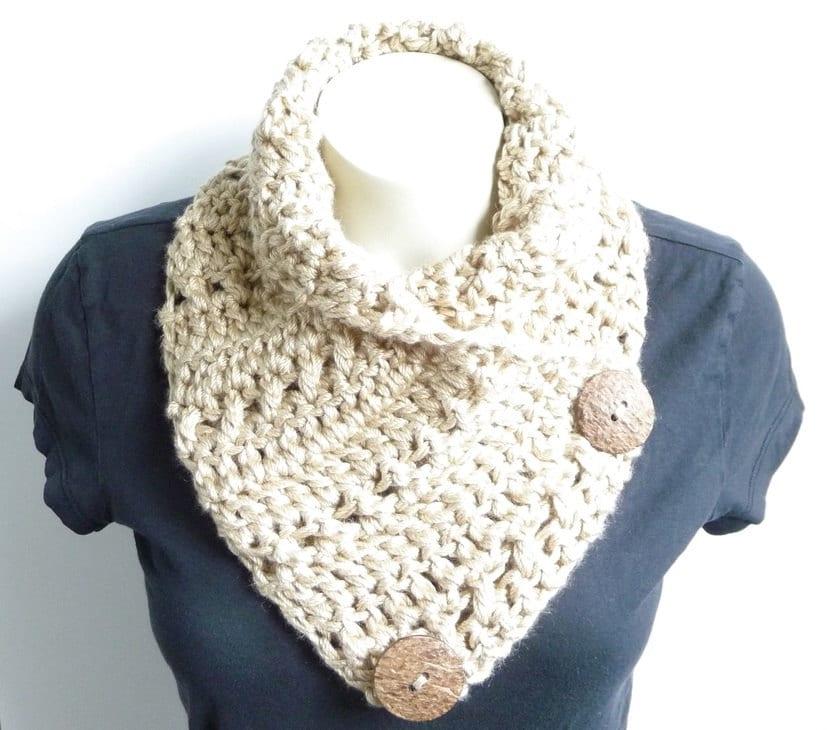 Crochet Cowl Pattern Crochet Scarf Pattern Button Scarf Button Cowl