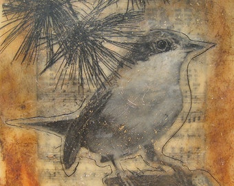 Song Bird,  Limited Edition Fine Art Print of Encaustic Painting