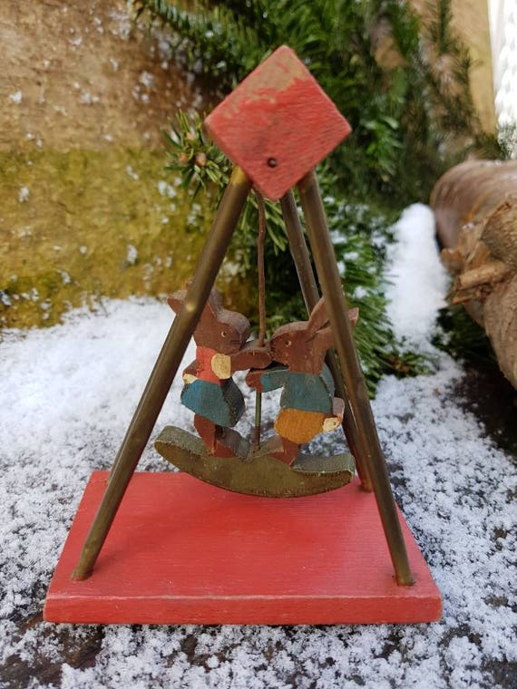 Eternal Playmates Erzgebirge Folk Art Vintage German Handmade Wood Toy Rabbits On A Swing Moving Easter Bunny