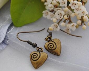 Heart earrings, antique brass hearts