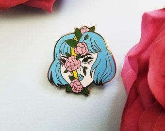 Blue Hair Girl Pin