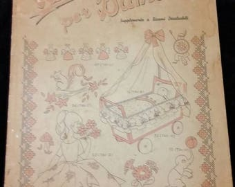 "Italian embroidery transfer book for children including infant""Decalcabili por Bambini"""