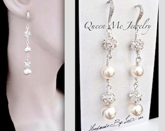 Pearl drop earrings Swarovski pearl earrings Pearl chandelier earrings Sterling wires Long pearl earrings Brides pearl earrings DESTINY