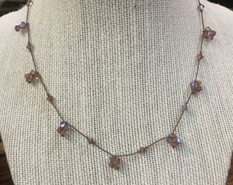 Pink Bead Hand Knotted String Necklace