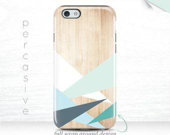 iPhone 7 Case, Galaxy S7 case, iPhone 6 Case Geometric Wood Print iPhone 5S Case Blue Green iPhone 6 Plus Case iPhone 6S Case Triangle  05q