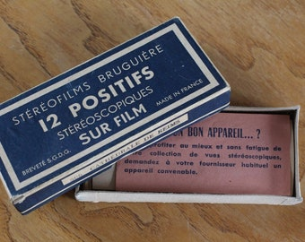 Box containing 11 Stereofilms Bruguière for Stereoscope, showing views of the Cathedral of Reims, made in France, 40/50s