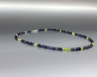 Beautiful Iolite with Peridot necklace with Sterling silver elements - gift idea -purple  blue and green color combination - natural stone