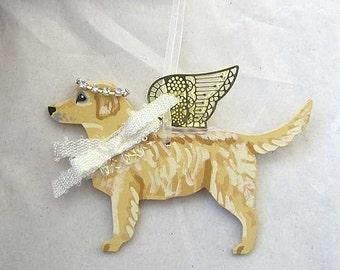 Hand-Painted GOLDEN RETRIEVER Metal Wing Angel Wood Ornament....Artist Original