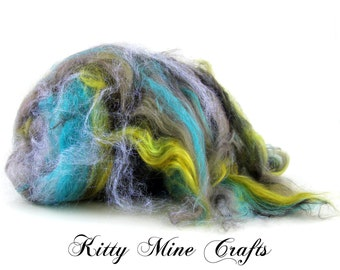 Retro Sparkles Huge OOAK Colonial Wool, Tussah Silk, Bamboo, and Angelina Art Batt - 5oz - Spinning Supplies - Felting - Carded Wool