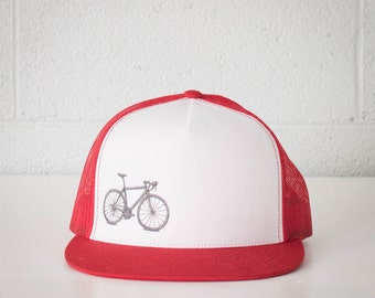 Vital Bicycle - trucker cap, grey on red