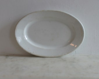 Antique White Ironstone Soap Dish, China, Small Oval Plate