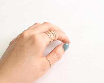 Set of 5 Micro Skinny Rings // Thin Sterling Silver Stacking Rings