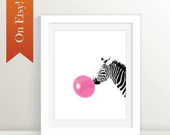 Zebra Bubblegum: 4x6, 5x7, 8x10, 11x14, 11x7, 16x20, 20x30, 20x60 Black and Pink, Animal Art, Animal Print, Zebra, Black Zebra, Pink Zebra