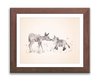 Baby Girl Nursery Art - Woodland Nursery Decor - Pink and Gray Nursery - Deer and Fox - Watercolor Print - D18