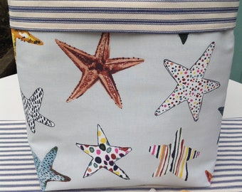Starfish shell fabric basket, storage basket, storage organiser, fabric storage basket, home storage, storage ideas, bathroom storage,