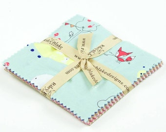 "ENCHANT 5"" Charm Pack With 18 Squares Cinderberry Stitches Forest Riley Blake Fox Bird Hedgehog Deer Fawn Tiny People Quilting Sewing Fabric"