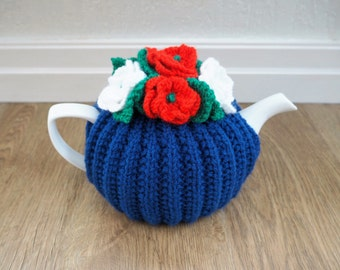 Hand Knit Blue, Red & White Tea Cosy - Patriotic Tea Cosy - Medium Tea Cosy (MADE TO ORDER)