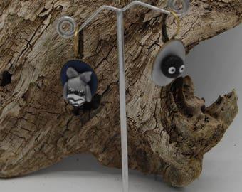 "Leverback Earrings mismatched grey black - BO manga - ""TOTORO"" - earring figurine miniature polymer clay Kawaii universe"