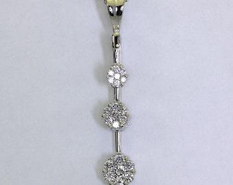 Diamond pendant necklace past present future 14K white gold round brilliant .50C