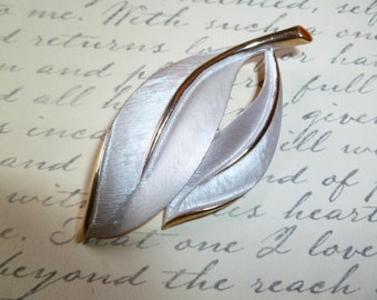 Brushed Silver and Gold Retro Leaf Brooch 1960's Mad Men Style